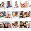 Collage of cute children playing at home - Stockfoto