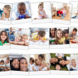 Collage of cute children playing at home - Foto Stock