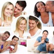 Montage of young couples — Foto de Stock