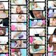Collage of several young women smiling - Stock Photo