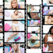 Montage of attractive women lying on their bed - Stock Photo