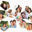 Collage of couples spending time together — Stock Photo