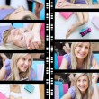 Collage of a blond-haired woman — Stock Photo
