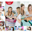 Montage of women doing shopping - Stock Photo