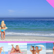 Montage of attractive woman on the beach — Stock Photo