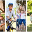 Montage of families relaxing — Stock Photo