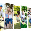 Collage of couples spending time with their children - Stock Photo