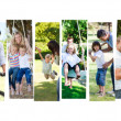 Montage of children having fun with their parents - Stock Photo
