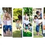 montagem de crianças se divertindo com seus pais — Foto Stock