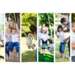 Montage of families spending time together - Stock Photo