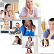Montage of having a phone conversation — Stock Photo
