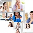 Montage of having a phone conversation — Stock Photo #10580684