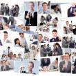 Collage of businessmen toasting and drinking champagne — Stock Photo
