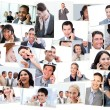 Stock Photo: Collage of business talking on the phone