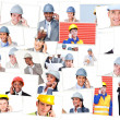 Collage of business phoning while being on the field — Stock Photo