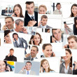Collage of business having phone conversation — Stock Photo
