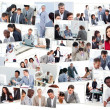 Collage of businessmen in meetings — Stock Photo