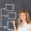 Stock Photo: Cute female teacher drawing scheme