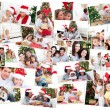 Collage of families celebrating Christmas - Stock Photo