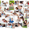 Stock Photo: Collage of families surfing on their laptop