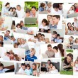 Royalty-Free Stock Photo: Collage of families surfing on their laptop