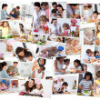 Collage of adults cooking with their children — Photo
