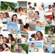 Stock Photo: Collage of cute families hugging