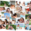 Collage of cute families hugging - Stock Photo