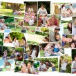 Collage of cute families having fun - Stock Photo