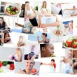 Collage of photos illustrating healthy lifestyles — ストック写真