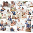 Collage of senior couples spending time together — Stock Photo #10589036