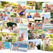 Collage of senior couples spending time together — Stock Photo