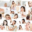 Collage of cute women doing their makeup — Stock Photo