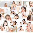 Stock Photo: Collage of cute women doing their makeup