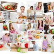 Stock Photo: Collage of young adults cooking alone