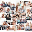 Collage of groups of young having fun together - Stock Photo