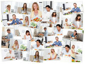 Montage of young adults in the kitchen — Stock Photo