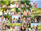 Montage of young adults having fun with their children — Stok fotoğraf