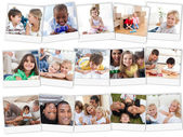 Collage of cute children playing at home — Stok fotoğraf