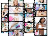 Collage of cute women — Stock Photo