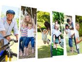 Collage van paren tijd doorbrengen met hun kinderen — Stockfoto