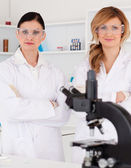 Two female scientists posing — Stock Photo