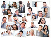 Collage of business talking on the phone — Stock Photo