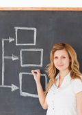 Cute female teacher drawing a scheme — Stock Photo