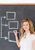 Cute female teacher drawing a scheme — Stock Photo