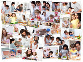 Collage of adults cooking with their children — Stock Photo
