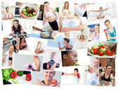 Collage of photos illustrating healthy lifestyles — Stock Photo