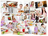 Collage of young adults cooking alone — Stock Photo