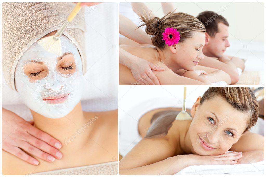 Collage of a cute couple relaxing in a Spa centre  Stock Photo #10580166