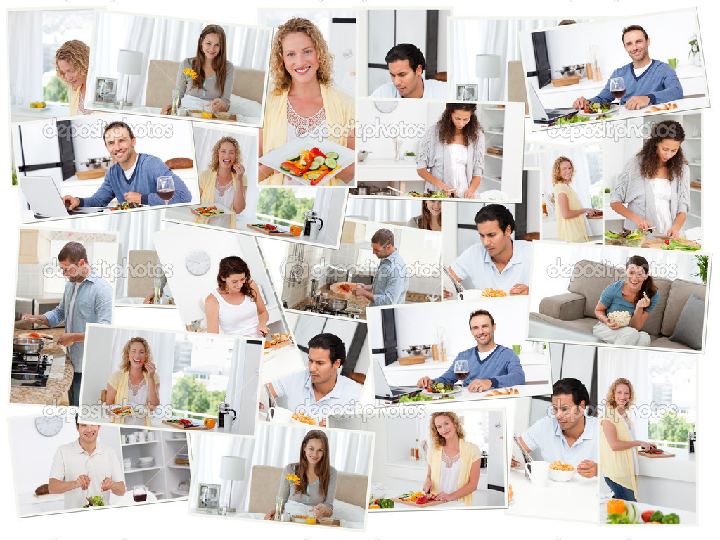 Montage of young adults cooking and eating in the kitchen — Stock Photo #10580174